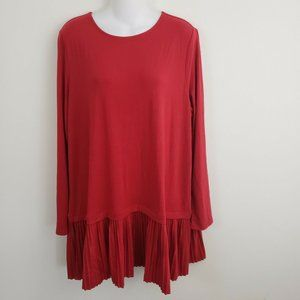 J.Jill Women's Tunic Top Blouse Red Pleated Hem XL